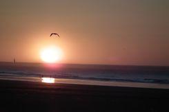 Coucher de soleil sur la plage de Calais